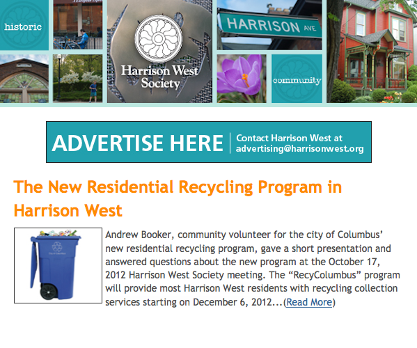 Harrison West Newsletter Advertising
