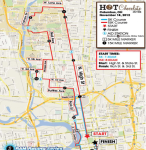 Hot chocolate race route