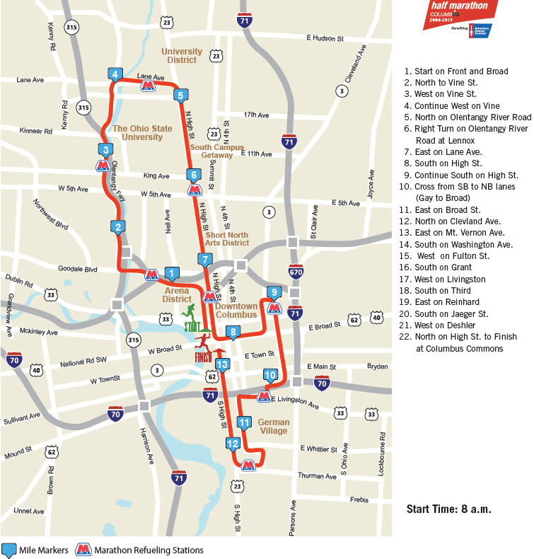 Cap city half marathon map 2013