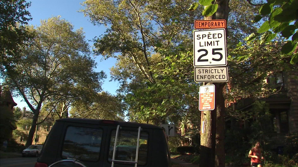 temporary 25mph speed sign