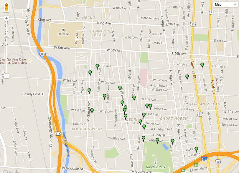 Short North Yard Sale Map 2015
