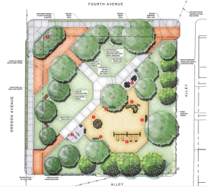 preliminary renderings for harrison west park rennovation